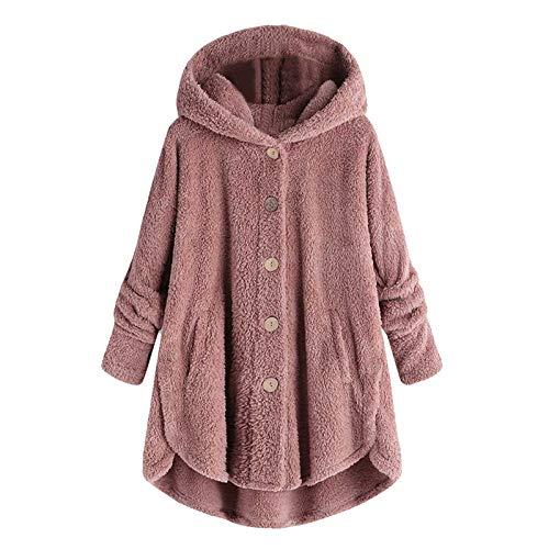 Womens Fleece Button Coat, Plus Size Loose Winter Solid Pockets Fluffy Sweater Hooded Outwear Women Coat Tail Tops Pullover