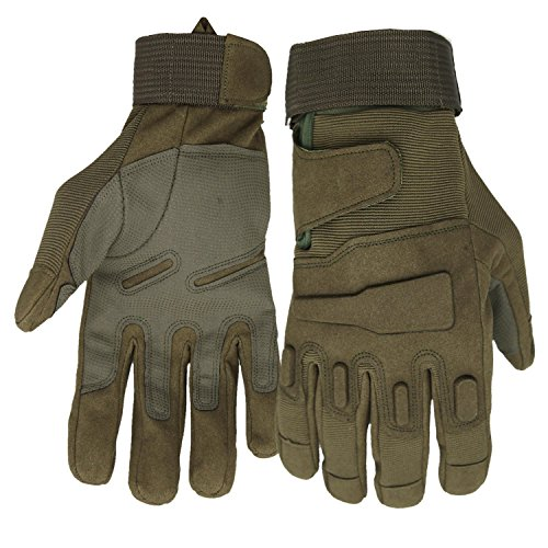Mimicool Herren Outdoor-Handschuhe Full Finger Military Tactical Handschuhe Anti-Rutsch Verschleißbeständige Fahrrad-Radfahren Motorrad-Handschuhe (Army Green, M)