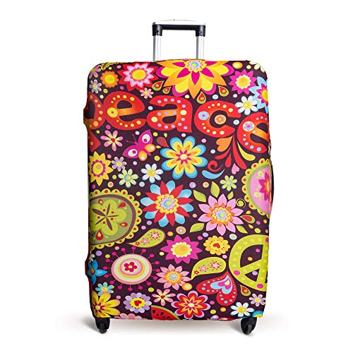 Luggage Cover Suitcase Protector Fits 19-33 Inch TSA Approved Travel Suitcase Cover Washable Dustproof Anti-Scratch (M (22-26 inch), Peace)