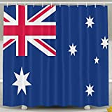 Shi Fu Australien Flagge Cool Bad Vorhang Polyester-Duschvorhang-Vorhang für die Dusche Größe 152,4x 182,9cm 60*72inch Weiß