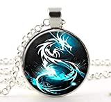 HE PING Blue Dragon Fantasy Necklace, Fairy Garden, Gifts for Best Friends