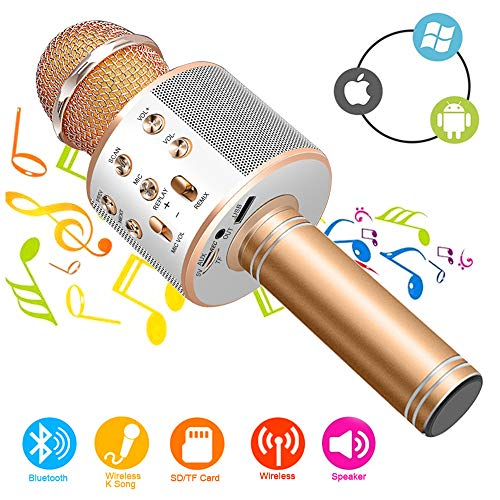 Phiraggit Micrófono Inalámbrico Bluetooth, Bluetooth Altavoz, Portátil Karaoke Bluetooth Dispositivo de mano Karaoke Player para niños adultos Casa KTV Party para Android /Iphone/Ipad/PC