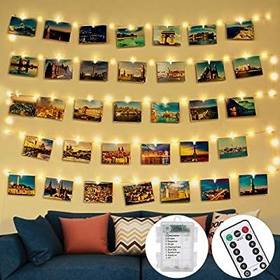 💖 [50LED & 30Clips & 10Nails] Nuestras luces de clavijas para fotos tienen 50 LED. Cada LED de 10 cm, total de 5 m de largo. Equipado con 30 clips transparentes para mostrar múltiples imágenes, tarjetas, impresiones, obras de arte para niños, dibujos...