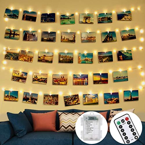 Lichterkette mit Klammern für Fotos, 5M 50LED Led Fotoclips Lichterkette Fotolichterketten Fotowand Lichterkette mit Klammern Transparent für Bilder, Zimmer Deko, Wohnzimmer, Weihnachten, Hochzeiten