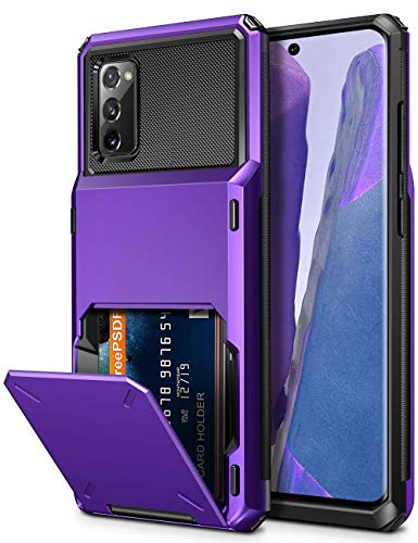 Vofolen for Galaxy Note 20 Case 5G Wallet 4-Card Flip Cover Credit Card Holder ID Slot Back Hidden Pocket Dual Layer Protective Hybrid Hard Shell TPU Bumper Armor for Samsung Note 20 6.7 Purple