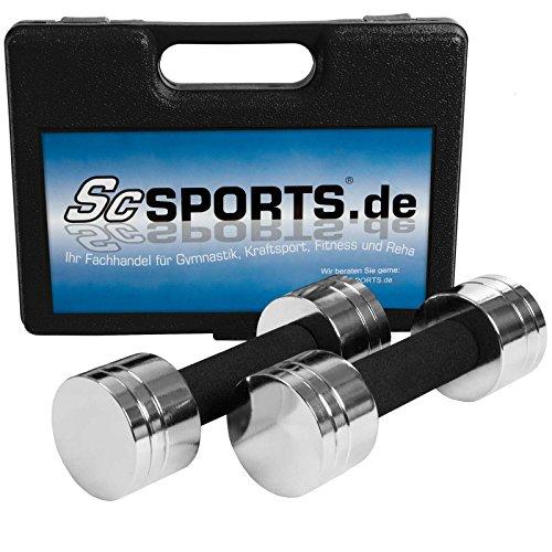 ScSPORTS® 5 kg Hantelset Kurzhantel-Set mit 2X Kurzhantelstange, Hantelscheiben Chrom, komplett zerlegbar im Koffer (schwarz)