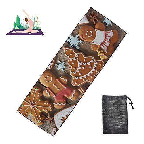 WYYWCY Kissen Übungsmatte Lebkuchenmann Kekse mit Schneeflocke und Weihnachtsbäumen Übungsmatte Männer Mikrofaser Super weich und schweißabsorbierend, ideal für Hot Yoga, Pilates und Training