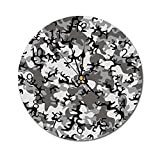 Yeeboo Camo 10 Inch Round Wall Clock,Battledress Concept Concealment Artifice Hiding Force Uniform Pattern Fashion Easy Read Clock for Home Office Classroom,Black Grey Silver