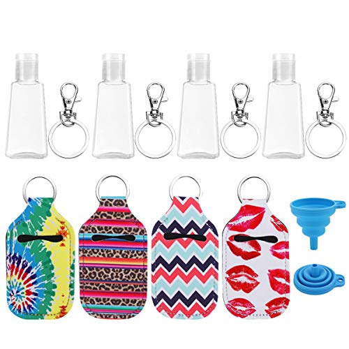4 Set Portable Travel Bottles, LIONVISON Hand Sanitizer Holder Keychain Leak Proof Refillable Squeeze Bottle Empty Containers With Neoprene Holder, 30ML Flip Cap Plastic Travel Size Bottle for Liquids