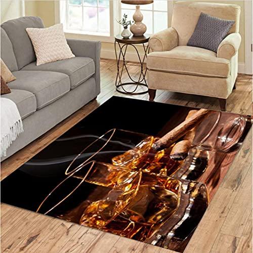 DHDHH Alfombras de Whisky embotelladas, decoración, salón, Dormitorio, salón, Mesa de té, área, Alfombra, Vino y café, Alfombra, Alfombra, 100x160cm