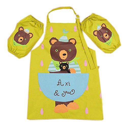 Tablier pour enfant Ours cuisson tablier pour peinture – 3–6 ans, vert