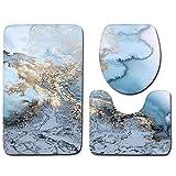 Nicedier 3pcs / Set de mármol Piedra del adoquín Antideslizante Absorbente de Agua de la máquina Lavable Alfombra de baño de Contorno Mat Escudo Aseo Artículos para el hogar