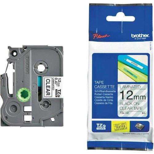 Beschriftungsband für Brother P-Touch TCM edition, Schwarz auf Farblos, 12 mm, laminiert, Schriftband-Kassette für Brother, 12mm breit, 8mtr.
