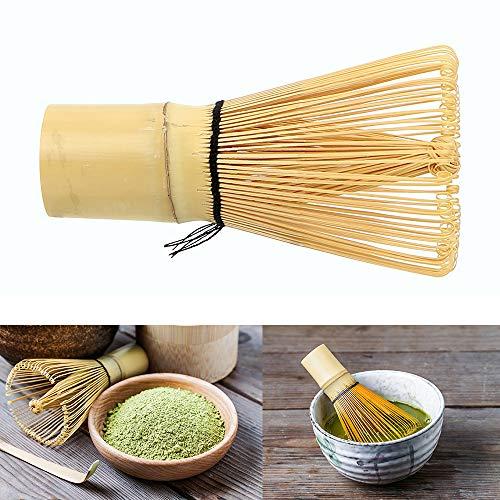 iTimo Matcha Pinsel, Grüner Tee Puderwerkzeug, Japanisches Teegeschirr, 100 Fransen, Bambus, 10× 5,5 cm