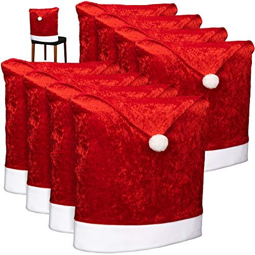 com-four® 8X Hochwertige Stuhlhussen für Weihnachten - Weihnachtsdeko für Stühle - Premium Stuhlabdeckung im weihnachtlichen Design - Stuhlbezug