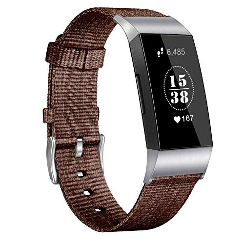XIALEY Pulseras Compatible con Fitbit Charge 4 / Fitbit Charge 3, Banda De Reemplazo Correa De Nylon De Tela Tejida Brazalete Ajustable Strap Deportiva Transpirable para Charge 3 / Charge 4,E