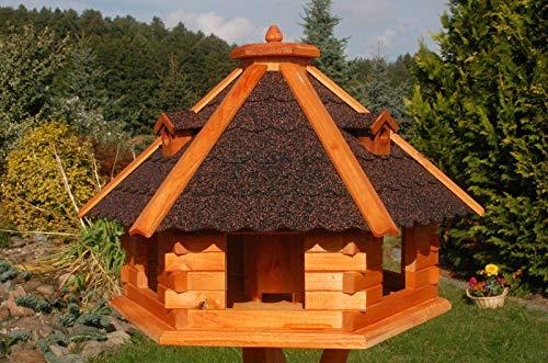 DEKO VERTRIEB BAYERN XXXL Premium Vogelhaus ⌀70x45cm mit/ohne Solar/Ständer Futterhaus Vogelvilla Vogelfutterhaus, Farbe: Dunkel + Solar