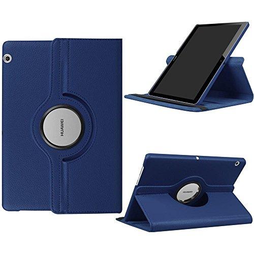 DETUOSI Fundas Huawei MediaPad T3 10 Funda de Cuero Giratoria 360 Grados Smart Case Cover Protectora Carcasa con Stand Función para Tablet Huawei T3 10 Pulgadas -Azul Oscuro