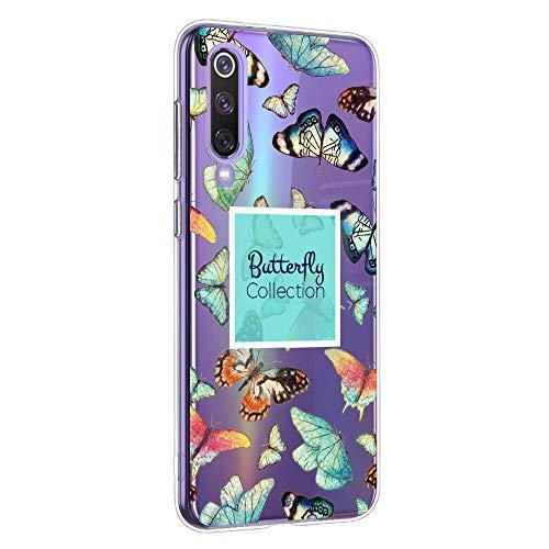 Oihxse Funda Conpatible con Xiaomi Redmi Note 8 Silicona Transparente Dibujos Mariposa Cover Suave TPU Gel Cristal Clear Delgada Anti- Arañazos Protección Carcasa Case,Multicolor 2