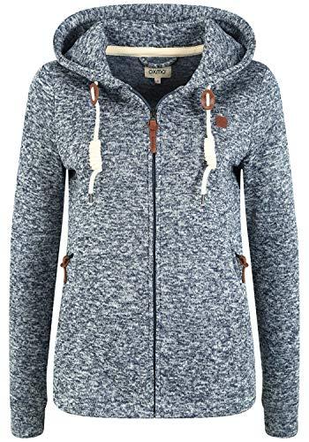 OXMO Thory Damen Fleecejacke Sweatjacke Jacke mit Kapuze, Größe:L, Farbe:Insignia B (791991)