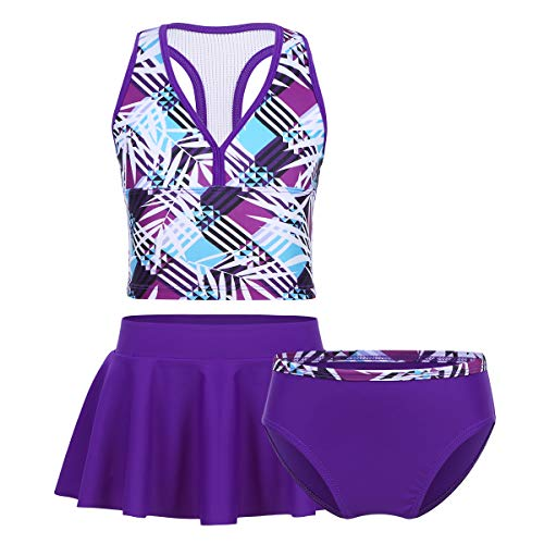 Agoky Little Big Girls' Two Pieces Tankini Swimsuit Top with Shorts Set Summer Bikini Beachwear Purple (3Pcs/Set) 8-10