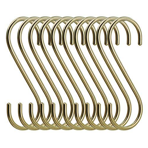 simpletome 10ST S-Haken Messing Kupfer Haken S-förmige Anti-Rost Metall Kleiderbügel Metall Haken Pothooks für Küche Badezimmer Schlafzimmer (Gold)