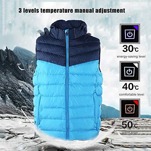 Verwarmd herenvest 3 niveaus temperatuur smart verstelbare infrarood verwarming capuchon mouwloze jas buiten warm houden thermo jas outfit (5XL)