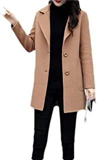 Macondoo Womens Single Breasted Wool Blended Winter Thick Trench Pea Coat