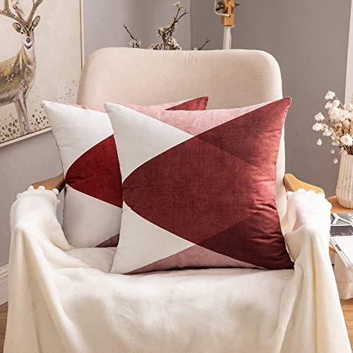 MIULEE Fundas de cojín para sofá Gamuza Sintética Almohada Protectores Caso de Diseño Geométrico Decorativas Fundas Cojines 45x45 cm/18X18 2 Piezas Fusión Rojo