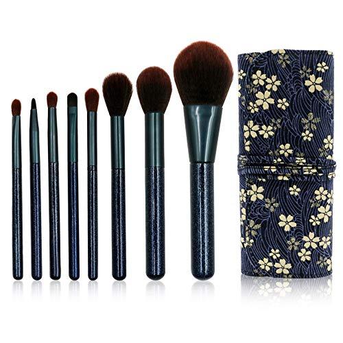 XIANRUI 8 parelmoer make-up borstel set make-up gereedschap los poeder oogschaduw doek bloem zwart tas gezicht