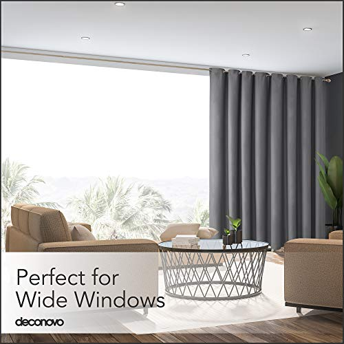 Deconovo Privacy Room Divider Curtain Thermal Insulated Blackout Curtains Extra Large Screen Partitions Room Darkening Panel for Sliding Door, 15ft Wide x 9ft Tall 1 Panel Dark Grey