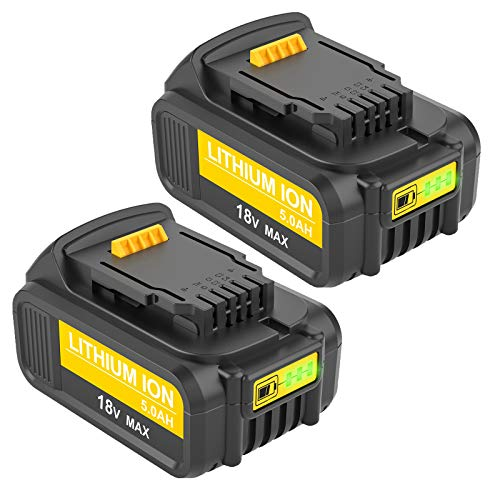 Venghts 【Paquete DE 2】 Reemplazo de 18V / 20V para Dewalt batería DCB200 DCB180, DCB181, DCB182, DCB201, DCB201-2, DCB200 Batería de Repuesto para Taladro inalámbrico de 5.0Ah