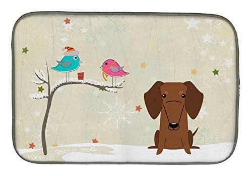 Caroline's Treasures BB2602DDM Christmas Presents Between Friends Dachshund - Alfombrilla para secar platos (14 x 21), multicolor