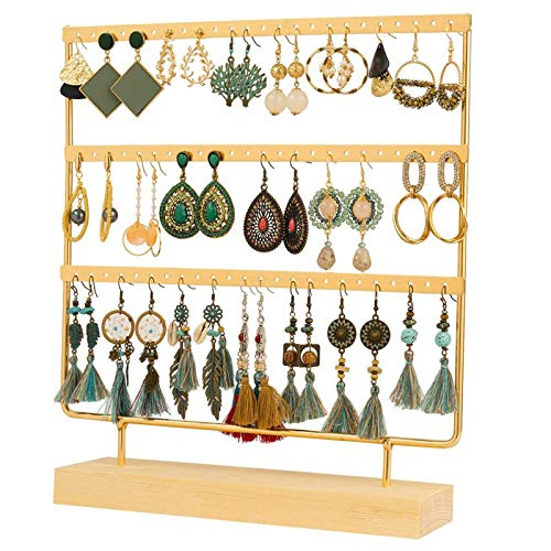 QILICHZ Gold Earring Holder 3-Tier Ear Stud Holder Earring Stand Display Rack Luxury Jewelry Stand Display Holder Hanger Rack Tower with Wooden Tray/Dish for Earrings Necklace Bracelet Rings 69 Holes