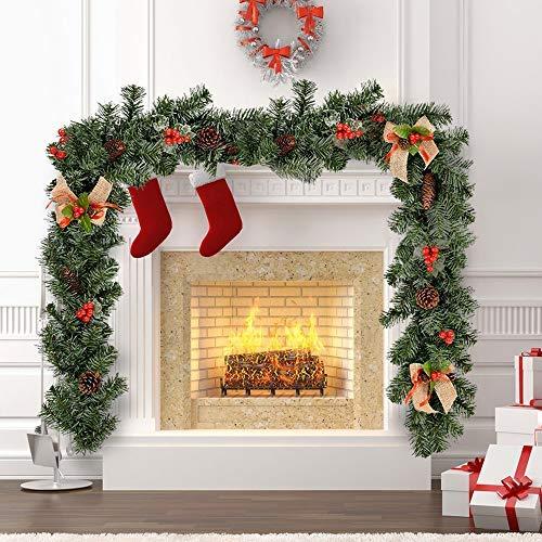 Guirnalda de Navidad para chimenea o escalera artificial, 1,8 m, decoración de Navidad con diseño de bayas y lazos de arpillera, decoración de árbol de Navidad 1pcs: Amazon.es: Hogar