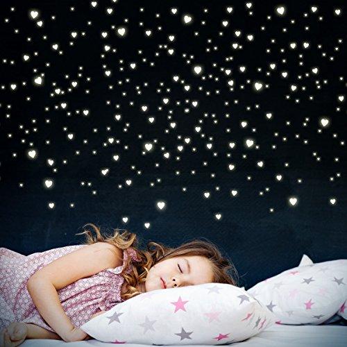 Wandkings 255 Leuchtherzen für Sternenhimmel, extra starke Leuchtkraft, Wandsticker Leuchtaufkleber, Fluoreszierend und im Dunkeln leuchtend