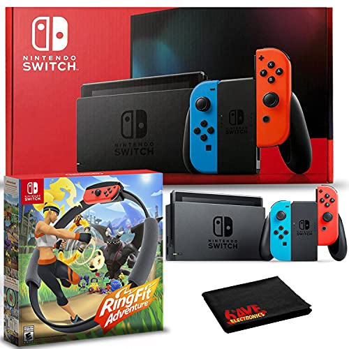Nintendo Switch with Neon Blue and Red Joy-Con Bundle with Ring Fit...