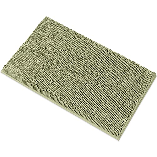 MAYSHINE Chenille Bath Mat for Bathroom Rugs 32' x20', Extra Soft and Absorbent Microfiber Shag Rug, Machine Wash Dry- Perfect Plush Carpet Mats for Tub, Shower, and Room- Sage Green