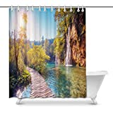 Cortina de baño Vintage Mountain Forest Lake View on Turquoise Water and Sunny Beams House Decor Shower Curtain for Bathroom Shower Curtain Set with Rings, 66(Wide) x 72(Height) Inches