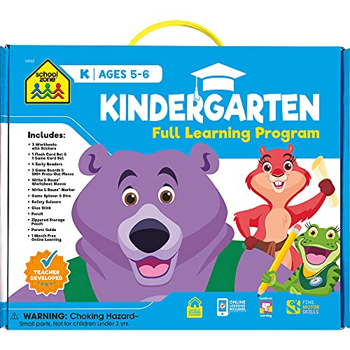 School Zone - Kindergarten Full Learning Program - Ages 5-6, Workbooks, Flash Cards, Early Reading Books, Educational Games, Write & Reuse, Writing, Math, Fine Motor Skills, Stickers, and More