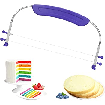GOLRIISEN Adjustable 2- Wire Cake Leveler Slicer Professional Cake Cutter Leveller with Stainless Steel Wires and Purple Handle for Baking