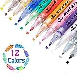 Rotuladores de Pintura Acrílica, 12 Colores Permanentes Punta Mediana para Piedra, Roca, Tela, Metal, Vidrio, Diseñar Taza de Cerámica, Scrapbooking (0.7mm)