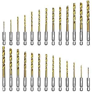 SENHAI Juego de brocas hexagonales, 2 juego de 13 piezas (26 piezas en total) HRC6 dureza HSS titanio aleación de repuesto taladro - 1/16