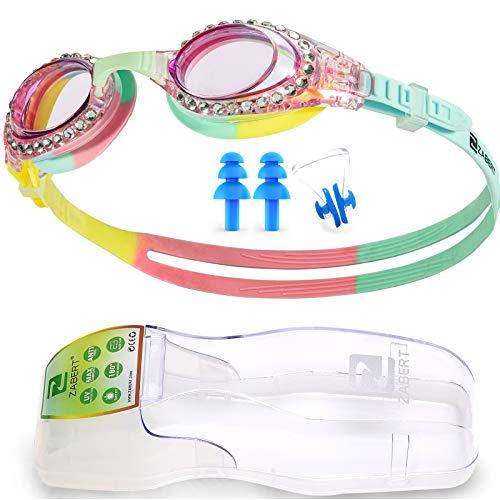 ZABERT, occhialini da nuoto per bambini, K5, occhialini da nuoto per bambini, per ragazzi e ragazze, 4 5 6 7 8 9 10 11 12 13 14 anni, rosa e blu