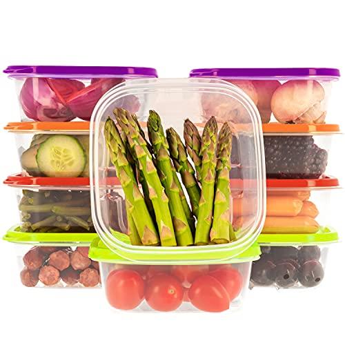 Recipientes Plastico para Alimentos Almacenaje Cocina con Tapas Multicolor | Set de 10 Piezas x 400 ml | Sin BPA | Tapers para Comida Hermetico | Lunch Box | Fiambrera | Organizador Frigorific