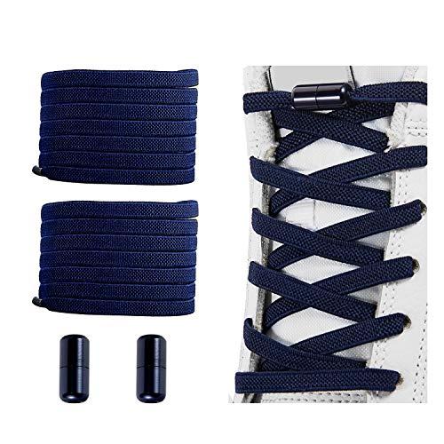 No Tie Shoelaces , Elastic Shoelaces for Adults/Kids,Elastic No Tie Shoe Laces Navy Blue