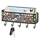 mDesign Wall Mount Metal Entryway Storage Organizer Mail Sorter Basket with 5 Hooks - Letter, M…