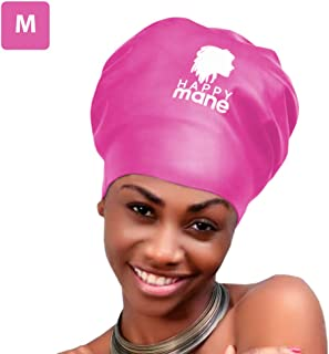 Happy Mane Silicone Swim Cap for Braids and Dreadlocks - Keeps Your Hair Dry While Swimming and Bathing Long Hair, Extensions, and Curly Hair - Large & XL Shower Cap for Women, Men, Kids (Pink, M)