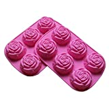 PopBlossom Set of 2 Large Rose Flower Ice Cube Chocolate Soap Tray Mold Silicone Party maker