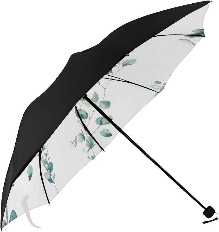 unisex Large Foldable Umbrella Watercolor Branches Eucalyptus 1 year warranty Underside